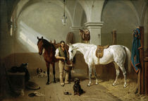 Horse Stable / Painting by Franz Adam by AKG  Images