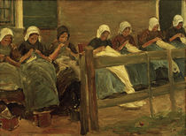 "M.Liebermann, ""Sewing girls in Huizen"" / painting by AKG  Images"
