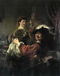 Self-Portrait with his Wife Saskia as Prodigal Son / Rembrandt / Painting, c.1636 by AKG  Images