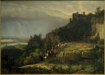 W.Whittredge, Kampf vor der Burg (Burg Drachenfels) by AKG  Images