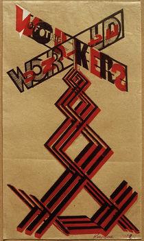 G.Klucis, Entwurf für einen Propagandastand mit Lautsprecher-Plattform von AKG  Images
