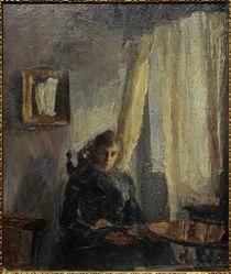 M. Slevogt, Interieur Nini am Tisch mit Vorhang von AKG  Images
