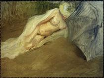 M. Slevogt, Liegender Akt mit Sonnenschirm by AKG  Images