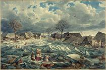 Wien, Hochwasser 1830,  Leopoldau / Aquarell von E. Gurk von AKG  Images
