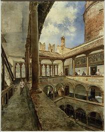 Trient, Castello del Buoncosiglio, Innenhof / Aquarell von R. von Alt by AKG  Images