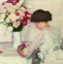 J.Goossens, In Gedanken (Dame in Weiß mit Blumen) von AKG  Images