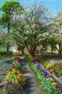 P.Mönsted, Blühender Garten im Frühling von AKG  Images
