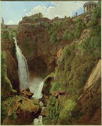 Tivoli, Kaskade und Grotte des Aniene mit Vestatempel  / Aquarell von R. von Alt von AKG  Images