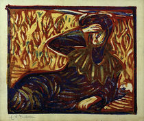 E.L.Kirchner, Girl with Headache Resting / Col. Woodcut by AKG  Images