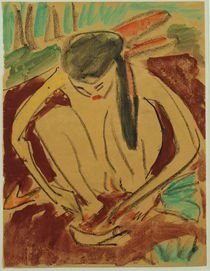 E.L. Kirchner / Squatting Girl (Nude) by AKG  Images