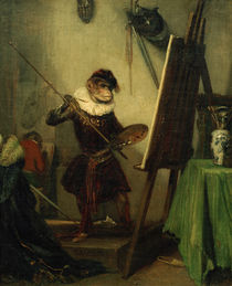 "A.-G. Décamps, ""Monkey painter"" / painting by AKG  Images"