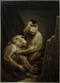Gabriel von Max, Art critics - Two monkeys examine a painting by AKG  Images