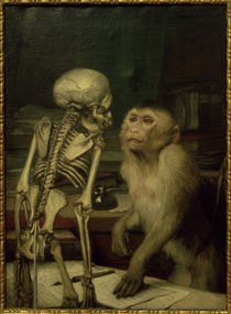 Gabriel von Max, Monkey with a skeleton by AKG  Images
