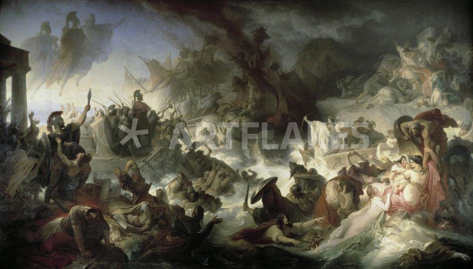 """Sea Battle of Salamis / Kaulbach/1862/64"" Picture art ..."
