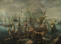 Naval battle near Gibraltar / Wieringen by AKG  Images