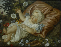 Adolf Senff, Baby and flowers / 1859 by AKG  Images