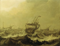 Ships During a Storm / P.Coopse / Painting by AKG  Images