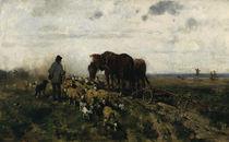 O.Gebler, Schäfer mit seiner Herde neben einem Pflug von AKG  Images
