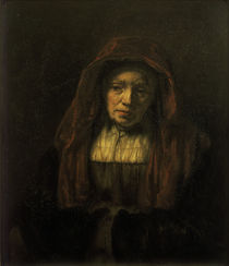 Rembrandt / Old woman with head scarf by AKG  Images