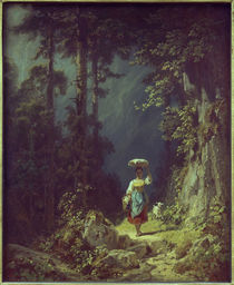 Girl with Goat in Mountain Valley I / C. Spitzweg / Painting c.1852 by AKG  Images