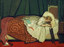 F.Vallotton, Woman in bed playing with a cat / painting by AKG  Images