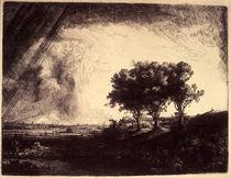 Rembrandt / Landschaft Drei Bäume / Grafik von AKG  Images