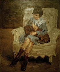 """M.Liebermann, """"Liebermann's granddaughter with dachshund.."""" / painting by AKG  Images"""