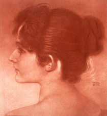 Franz von Stuck, study of a female head / drawing by AKG  Images