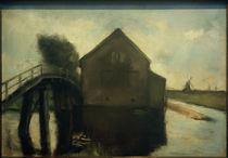 Lesser Ury, Niederländische Landschaft mit Windmühlen von AKG  Images