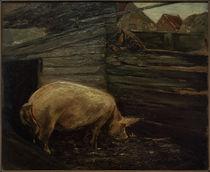 M. Liebermann, Schweinekoben mit Bauernjungen by AKG  Images
