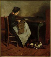 M. Liebermann, Nähendes Mädchen mit Katze - Holländisches Interieur by AKG  Images