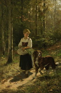 H.Salentin, Girl collecting herbs / painting, 1883 by AKG  Images