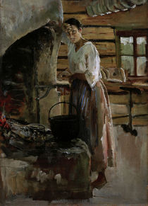 Akseli Gallen-Kallela, Woman cooking Whitefish by AKG  Images