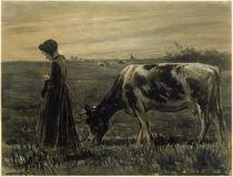 Max Liebermann, Mädchen mit Kuh by AKG  Images