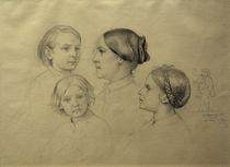 Familie des Künstlers / Zeichnung von Moritz v.Schwind mit Selbstbildnis von AKG  Images
