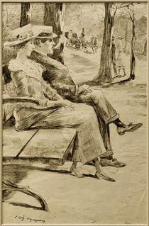 L.Ury, Dame und rauchender Herr auf einer Bank im Tiergarten by AKG  Images