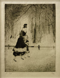 L.Ury, Dame mit Kind im Tiergarten by AKG  Images