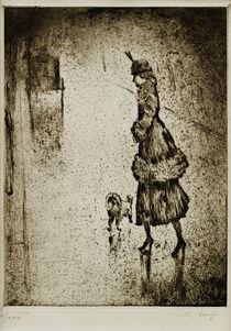 L.Ury, Dame mit Pudel auf regennasser Straße (Droschke links) von AKG  Images