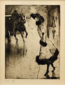 L.Ury, Dame, eine Pferdedroschke rufend von AKG  Images