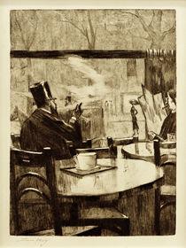 L.Ury, Herr mit Zylinder vor einem Kaffeehausfenster - In Rückenansicht by AKG  Images