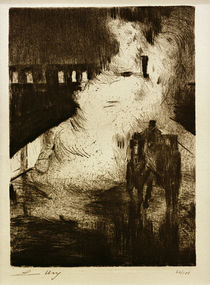 L.Ury, Nächtliche Impressionen (mit Droschke vor Lokomotivendampf) von AKG  Images