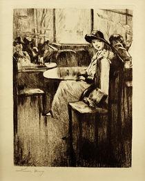 L.Ury, Junges Mädchen im Café mit Straßenblick by AKG  Images