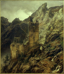 Rocky Landscape: Gorge and Ruins / C. F. Lessing / Painting, 1830 by AKG  Images