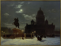 St. Petersburg, Isaakskathedrale und Denkmal Peters I. / Gem. v.Surikow, 1870 von AKG  Images