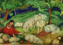 F.Marc, Shepherdess with sheep / painting 1908/09 by AKG  Images