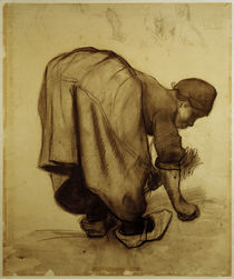 Van Gogh, Peasant Woman Gleaning / Draw. by AKG  Images