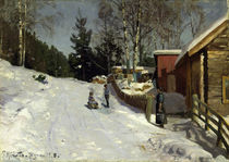 Peder Mørk Mønsted, Children Playing in a Snowy Village Lane by AKG  Images