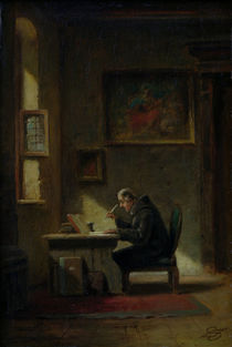 Monk at His Desk / C. Spitzweg / Painting c.1853 by AKG  Images
