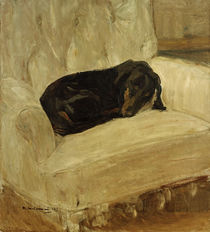 "M. Liebermann, ""Sleeping dachshund in an arcmchair"" / painting by AKG  Images"