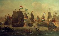 Holländ.–engl. Seeschlacht / Gem., 17. Jh. von AKG  Images